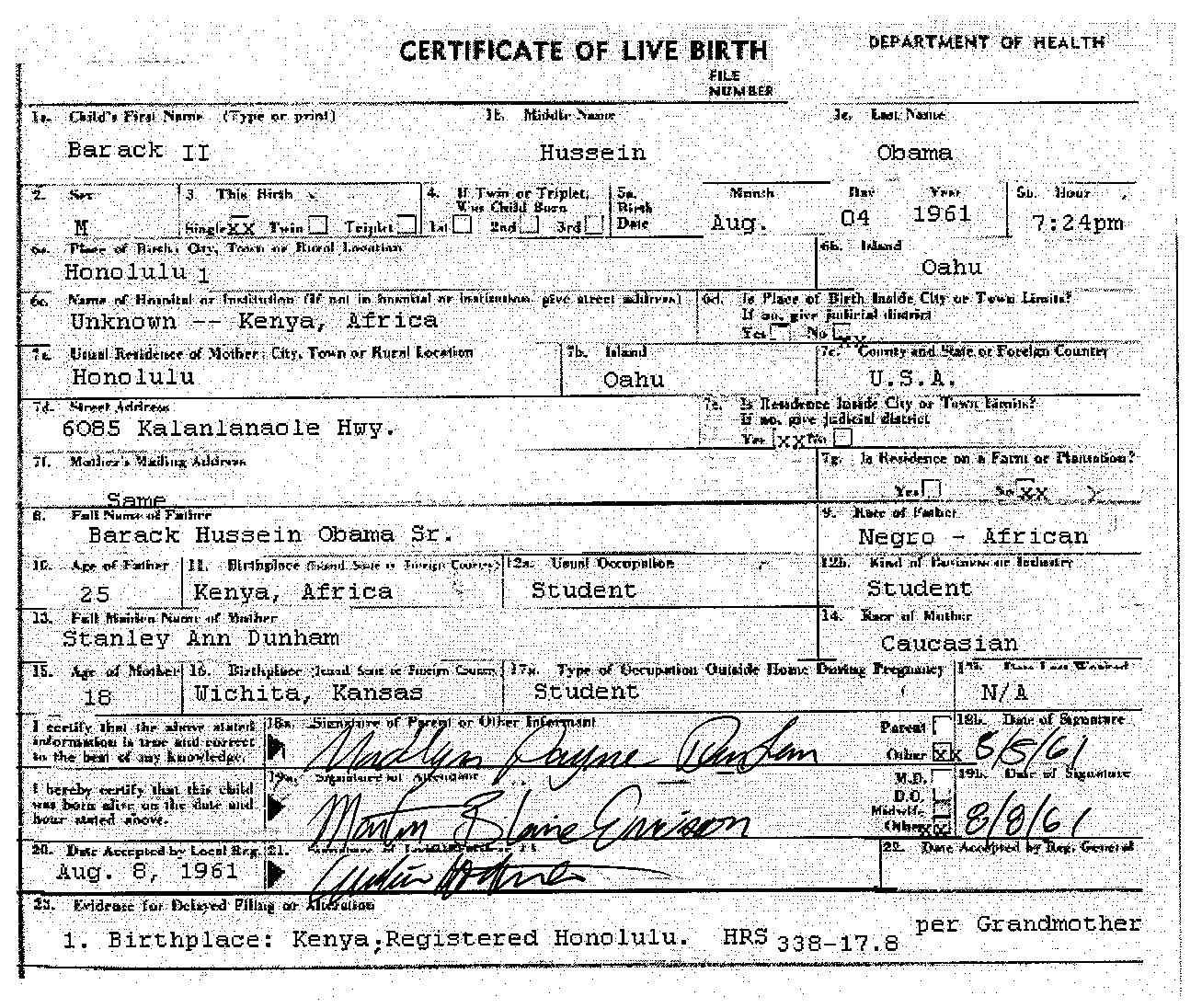 Obamas official birth certificate is a fake president obama click for full size obama fake birth certificate aiddatafo Image collections